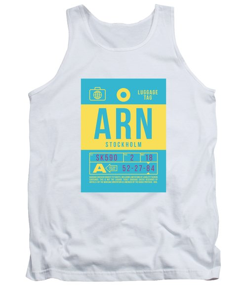 Retro Airline Luggage Tag 2.0 - Arn Stockholm Sweden Tank Top