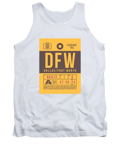 Retro Airline Luggage Tag 2.0 - Dfw Dallas Fort Worth United States Tank Top