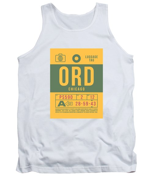 Retro Airline Luggage Tag 2.0 - Ord Chicago O'hare Airport United States Tank Top