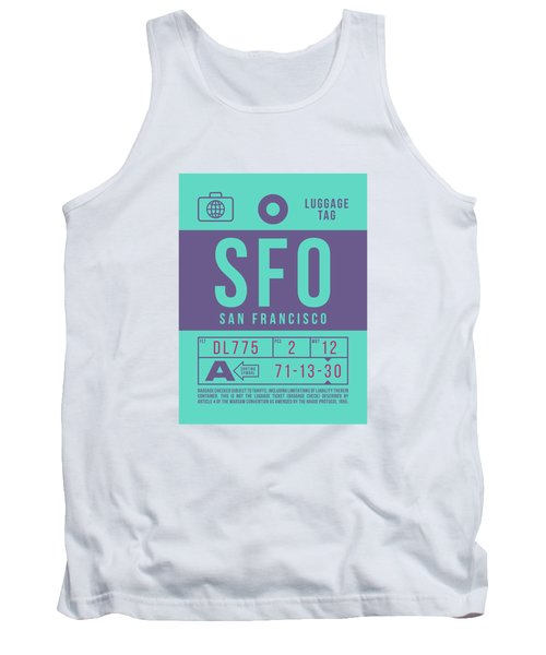 Retro Airline Luggage Tag 2.0 - Sfo San Francisco International Airport United States Tank Top
