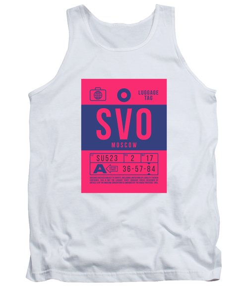 Retro Airline Luggage Tag 2.0 - Svo Moscow Sheremetyevo Airport Russia Tank Top