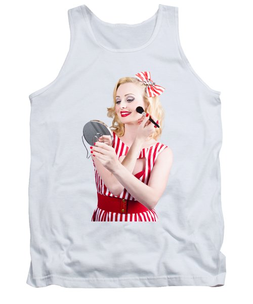 Retro Pin-up Woman Doing Beauty Make-up Tank Top