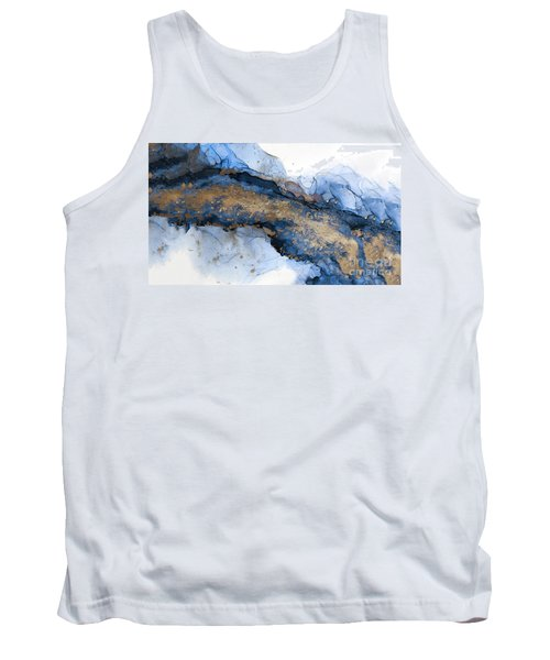 River Of Blue And Gold Abstract Painting Tank Top