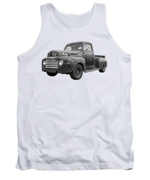 Rusty Ford Farm Truck Black And White Tank Top