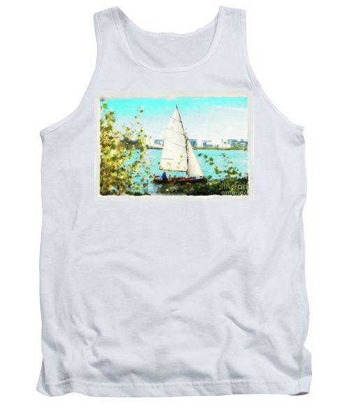 Sailboat On The River Watercolor Tank Top