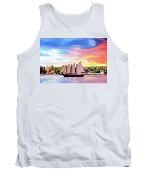Sails In The Wind At Sunset On The York River Tank Top