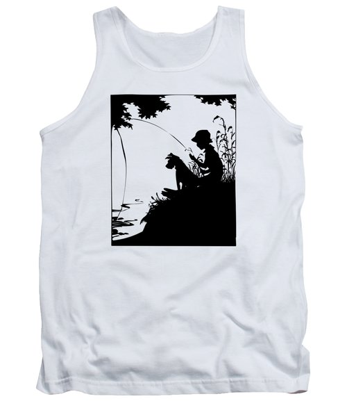 Silhouette Of A Boy Fishing With His Dog Tank Top