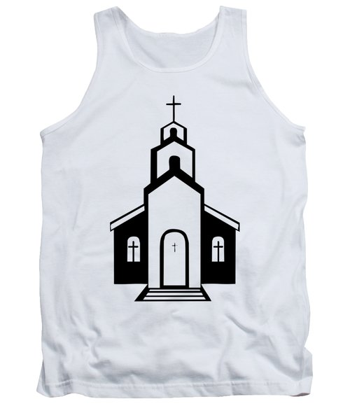 Silhouette Of A Christian Church Tank Top