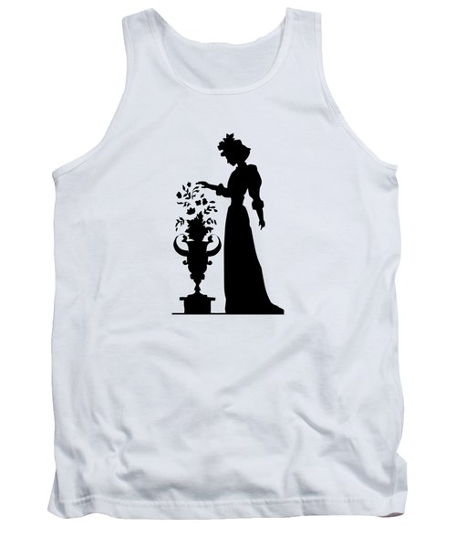 Silhouette Of A Victorian Woman And Flowers Tank Top