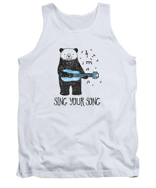 Sing Your Song - Cartoon Bear With Guitar Tank Top