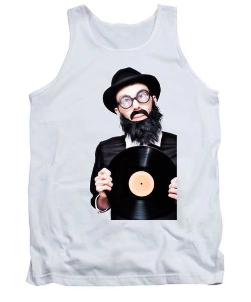 Sixties Retro Rock Man Holding Music Record Vinyl Tank Top