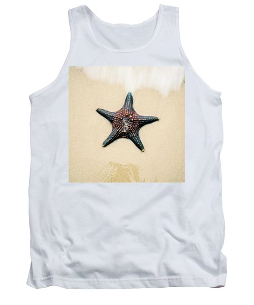 Starfish On The Beach Sand. Close Up. Tank Top