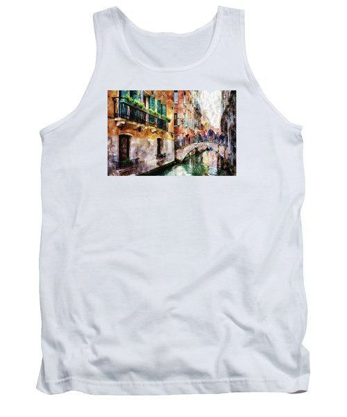 People On Bridge Over Canal In Venice, Italy - Watercolor Painting Effect Tank Top