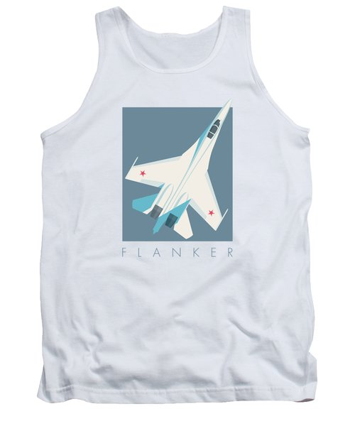 Su-27 Flanker Fighter Jet Aircraft - Slate Tank Top