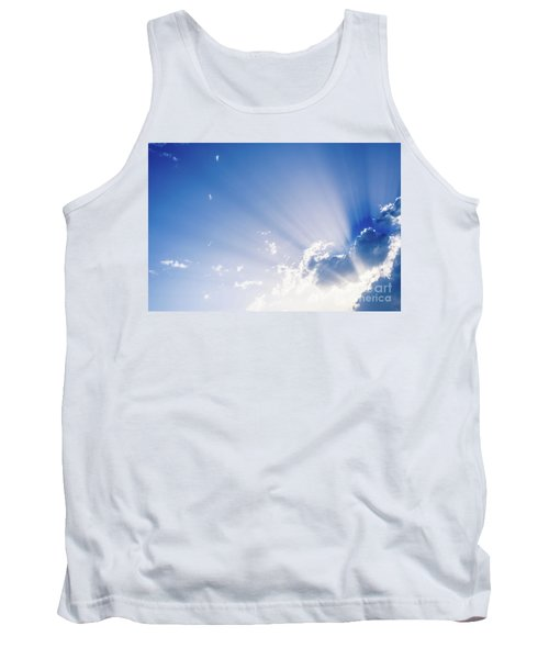 Sunbeams Rising From A Large Cloud In Intense Blue Sky On A Summer Afternoon Tank Top