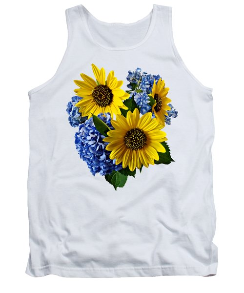 Sunflowers And Hydrangeas Tank Top