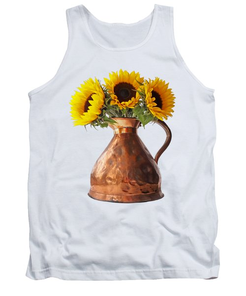 Sunflowers In Antique Copper Pitcher Tank Top
