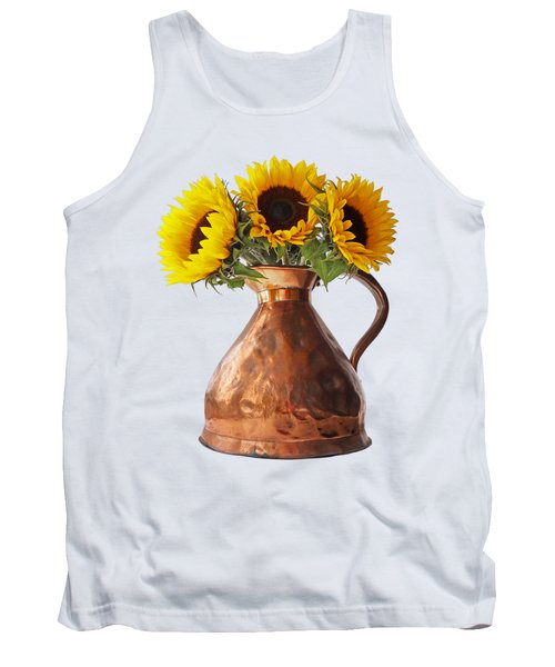 Sunflowers In Copper Pitcher On White Tank Top