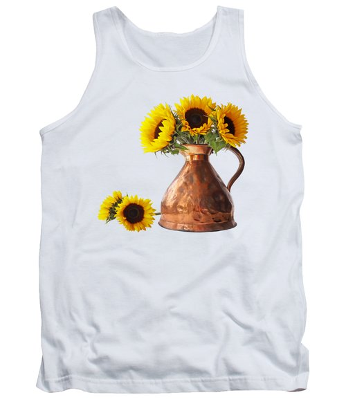 Sunflowers In Copper Pitcher On White Square Tank Top