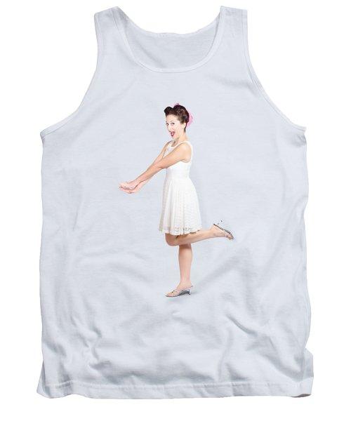 Surprised Housewife Kicking Up Leg In White Dress Tank Top
