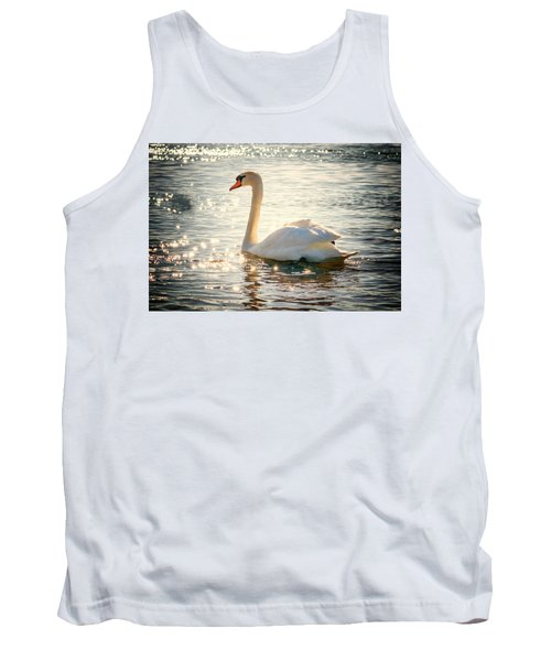 Swan On Golden Waters Tank Top