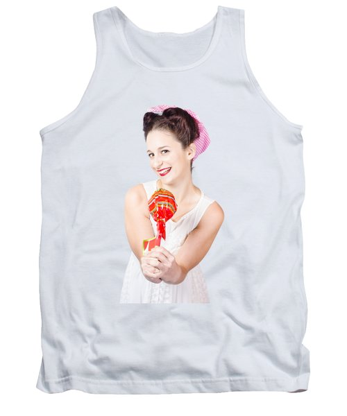 Sweet Lolly Shop Lady Offering Over Red Lollipop Tank Top
