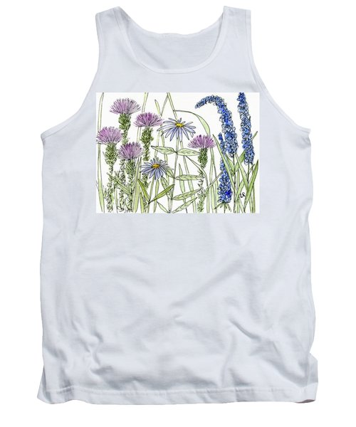 Thistle Asters Blue Flower Watercolor Wildflower Tank Top