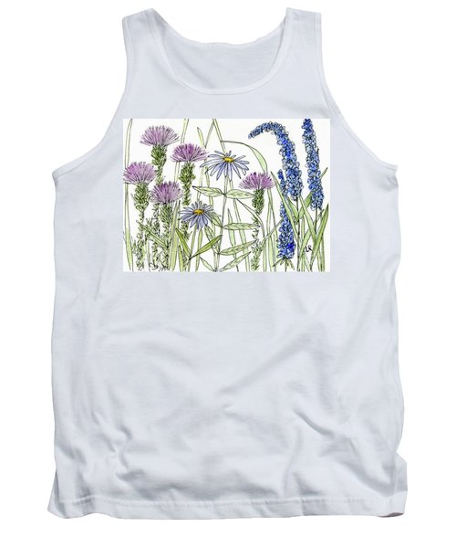 Thistle Asters Blue Flower Watercolor Wildflower Tank Top