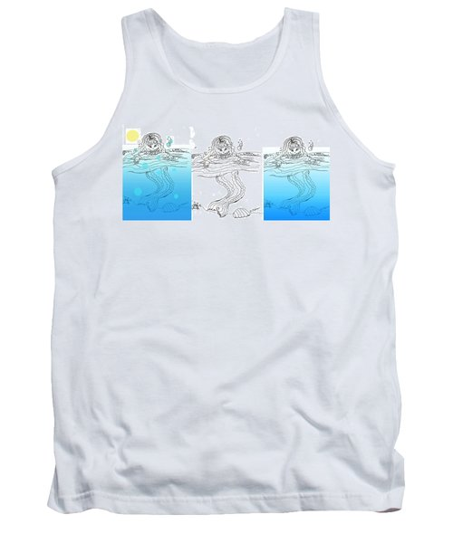 Three Mermaids All In A Row Tank Top