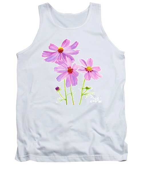 Three Pink Cosmos Blossoms Square Design Tank Top
