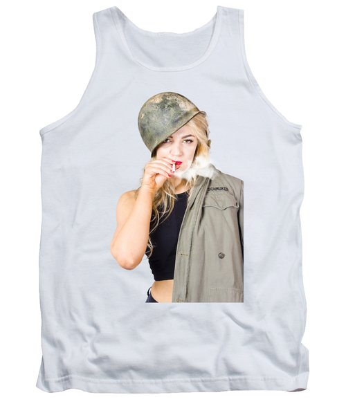 Tough And Determined Female Pin-up Soldier Smoking Tank Top