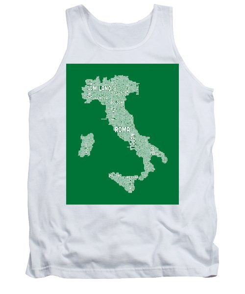 Typography Text Map Of Italy Map Tank Top