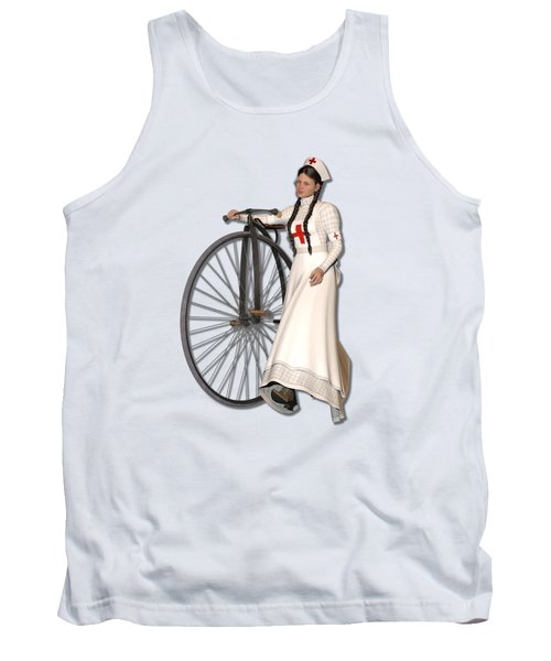 Victorian Nurse Along Penny Farthing Bicycle Tank Top