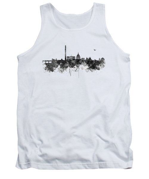 Washington Dc Skyline - Black And White Tank Top