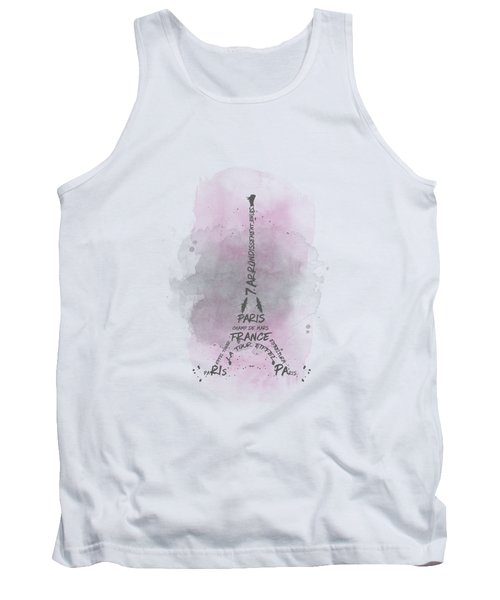 Watercolor Art Eiffel Tower - Pink Tank Top