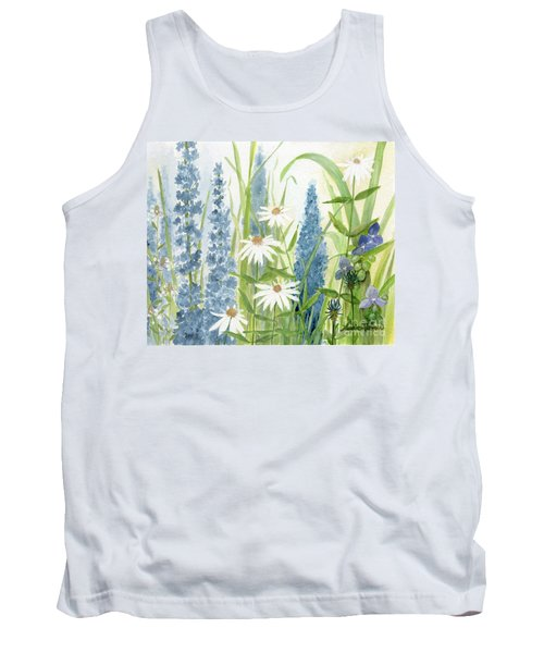 Watercolor Blue Flowers Tank Top