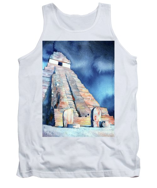 Watercolor Painting Of Mayan Temple And Stelae At Unesco World H Tank Top