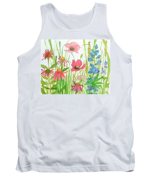 Watercolor Touch Of Blue Flowers Tank Top