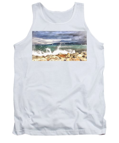 Tank Top featuring the painting Waves At Work by Harry Warrick