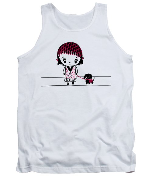 Whimsy Girl And Dog In Black And Red Tank Top