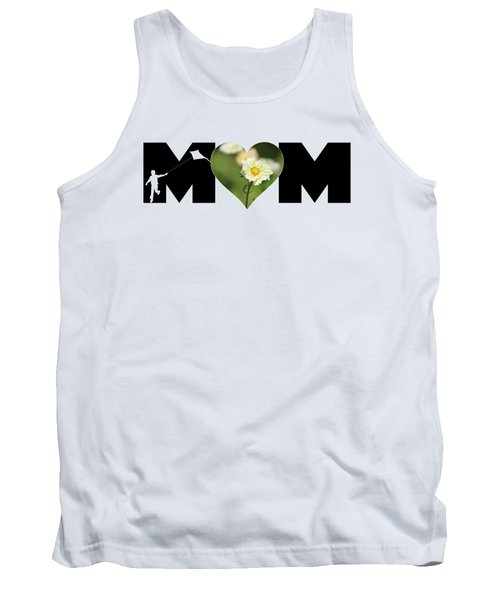 White Cosmos In Heart With Little Boy Mom Big Letter Tank Top