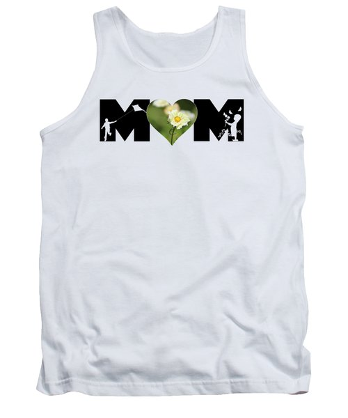 White Cosmos In Heart With Little Girl And Boy Mom Big Letter Tank Top