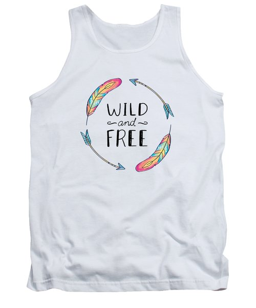 Wild And Free Colorful Feathers - Boho Chic Ethnic Nursery Art Poster Print Tank Top