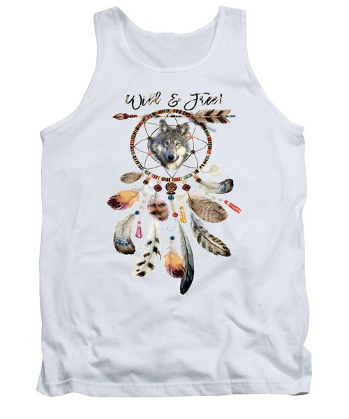 Tank Top featuring the mixed media Wild And Free Wolf Spirit Dreamcatcher by Georgeta Blanaru