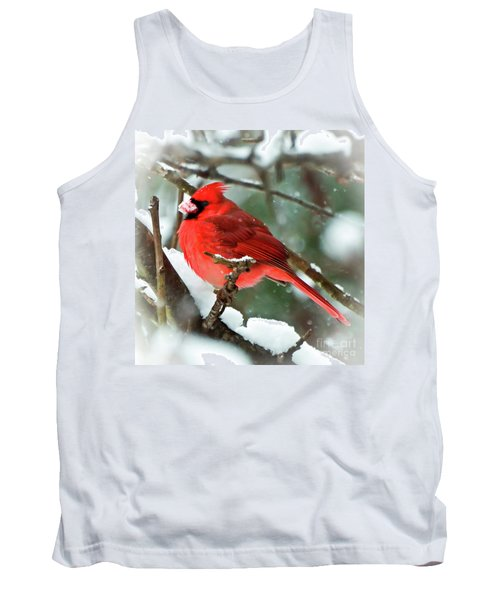Winter Red Bird - Male Northern Cardinal With A Snow Beak Tank Top