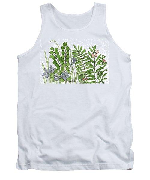 Woodland Ferns Violets Nature Illustration Tank Top