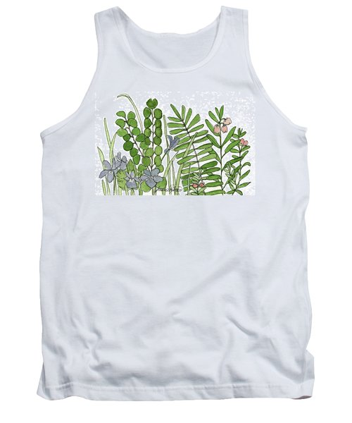 Woodland Ferns Violets Nature Illustration Tank Top