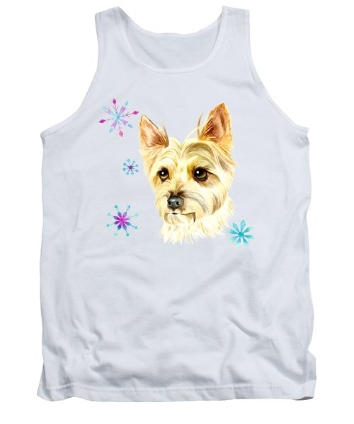 Yorkie Dog And Snowflakes Tank Top