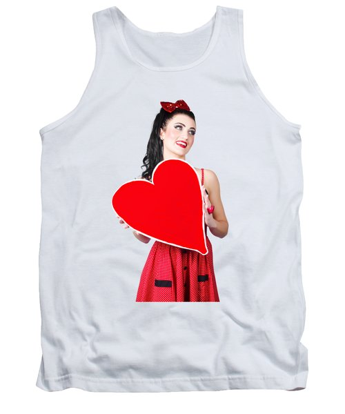 Young Lady Holding Retro Red Heart Card Tank Top
