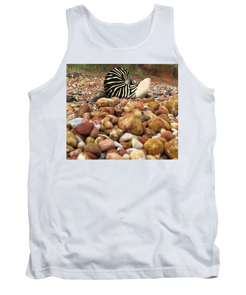 Zebra Nautilus Shell On Bauxite Beach Tank Top